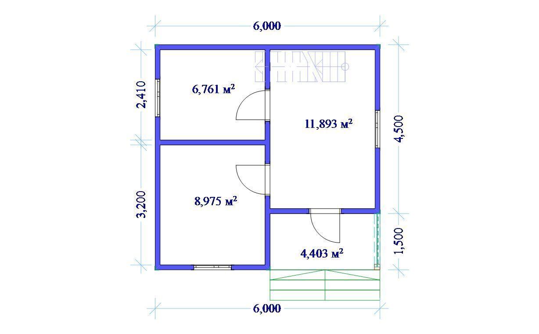 Дом каркасный 6х6м с ломаной крышей 3